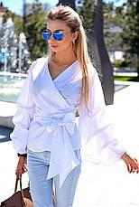 """Элегантная женская блуза в больших размерах 048 """"Коттон Запах Фонарик"""" в расцветках, фото 3"""