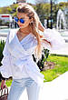 """Элегантная женская блуза в больших размерах 048 """"Коттон Запах Фонарик"""" в расцветках, фото 4"""