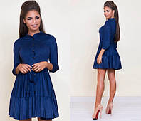 Короткое женское замшевое платье-халат на пуговицах с воланами с рукавом три четверти   +цвета