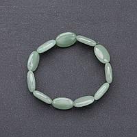 Браслет  нат. камень   Нефрит на резинке овал d-10*18мм