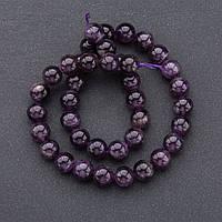 Бусины натуральный камень на нитке   Аметист фиолетовый гладкий шарик d-10мм L-37см