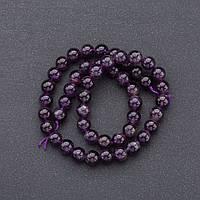 Бусины натуральный камень на нитке   Аметист фиолетовый гладкий шарик d-8мм L-37см