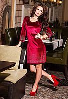 Женское нарядное платье из велюра со стразами 88496