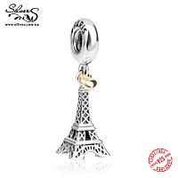 """Серебряная подвеска-шарм Пандора (Pandora) """"Эйфелева башня. Золотое сердце"""" для браслета"""