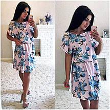 """Элегантное летнее женское платье в больших размерах 1145 """"Софт Принт Кармашки"""" в расцветках, фото 3"""