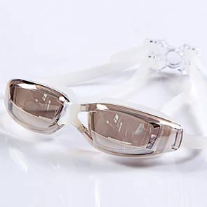 Проффесиональные очки для купания- №2554, Цвет коричневый