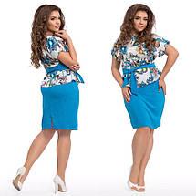 """Элегантный женский костюм с юбкой в больших размерах 205 """"Штапель Армани Цветы"""" в расцветках, фото 2"""