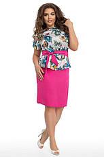 """Элегантный женский костюм с юбкой в больших размерах 205 """"Штапель Армани Цветы"""" в расцветках, фото 3"""