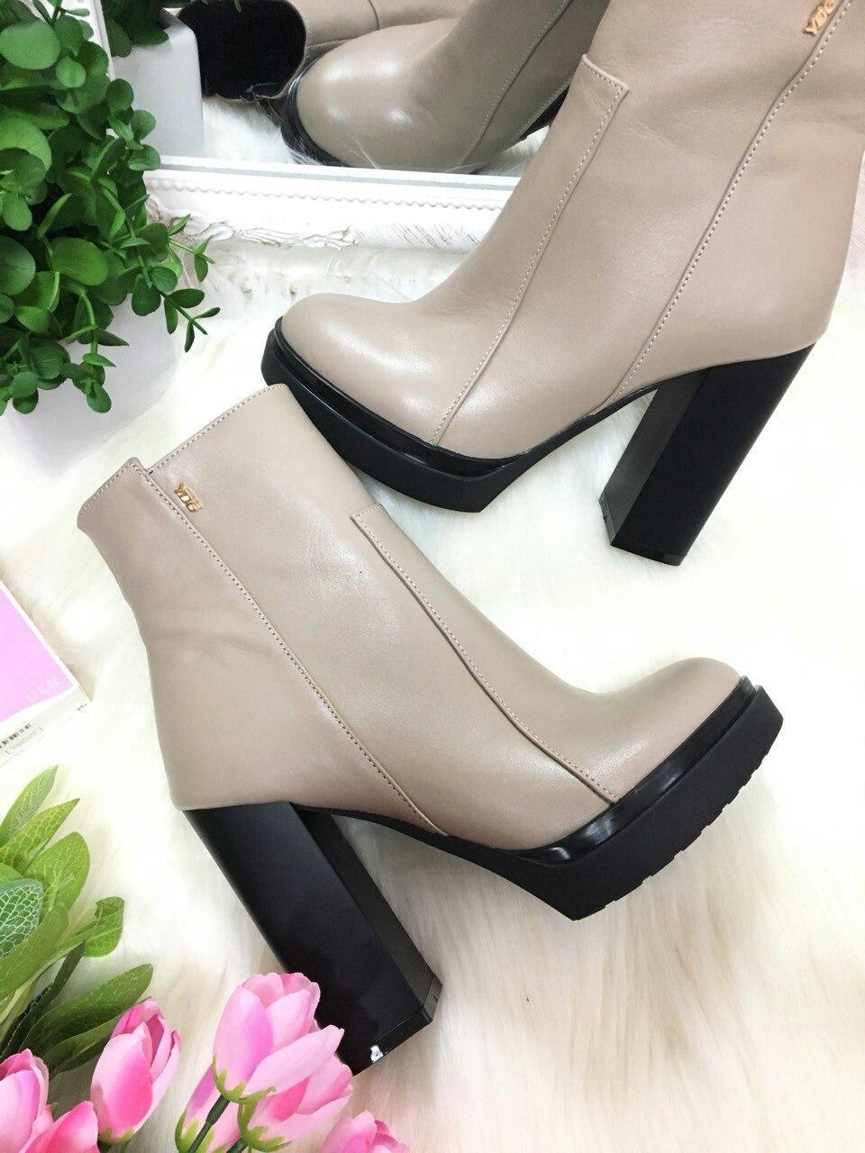 4805eff052ed Ботильоны кожаные с молнией на каблуке демисезонные серые - Интернет-магазин  обуви Vzuto.com