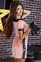 """Коротенькое платье замш экокожа со съемным рукавом """"Kakvskazke"""" 2P/NS 1010"""