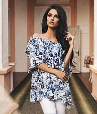 "Элегантная летняя женская блуза 0162 ""Лён Цветы Воланы"" в расцветках, фото 2"
