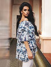 "Элегантная летняя женская блуза 0162 ""Лён Цветы Воланы"" в расцветках, фото 3"