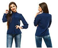 Женская блузка 243 т.синяя СП