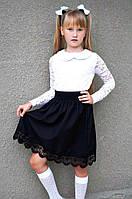 """Детская стильная юбка 3549 """"Габардин Мулине"""" в школьных расцветках"""