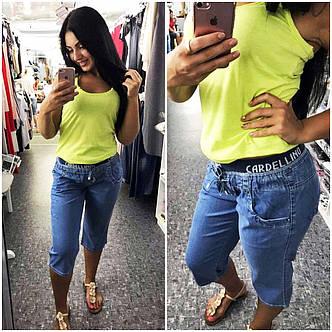 Женские джинсовые бриджи до больших размеров 4667, фото 2