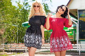 """Женское летнее короткое платье с открытыми плечами 211 """"Горошек Купон"""" в расцветках, фото 2"""