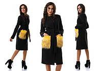 Пальто из кашемира с меховыми карманами