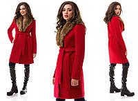 Женское теплое пальто с искусственным мехом 8800007