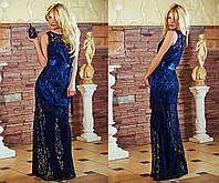 """Элегантное вечернее длинное платье """"Гипюр Атласная Лента"""" в расцветках"""