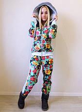 """Стильный женский тёплый спортивный костюм на синтепоне """"Цветы Мех"""" в расцветках, фото 2"""