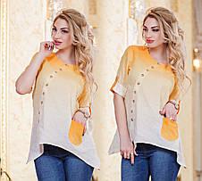 """Женская стильная рубашка-туника до больших размеров 2821 """"Лён Амбре"""" в расцветках, фото 2"""