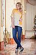 """Женская стильная рубашка-туника до больших размеров 2821 """"Лён Амбре"""" в расцветках, фото 3"""