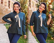 """Стильная женская рубашка в больших размерах 1065 """"Коттон Принт Галстук"""" в расцветках, фото 3"""