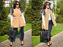 """Элегантный женский жилет с поясом в больших размерах 8005-1 """"Кашемир Мех"""" в расцветках, фото 2"""