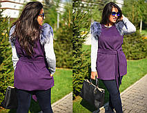 """Элегантный женский жилет с поясом в больших размерах 8005-1 """"Кашемир Мех"""" в расцветках, фото 3"""