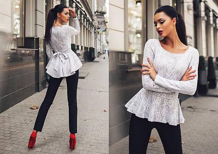 """Элегантный женский брючный костюм 0072 """"Баска Ангора Гипюр"""" в расцветках, фото 2"""