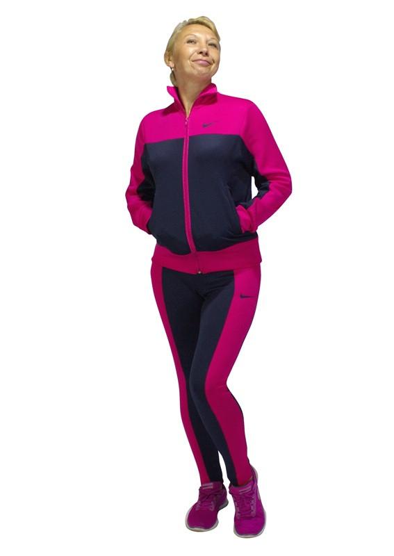синий женский спортивный костюм больших размеров для фитнеса с малиновыми вставками