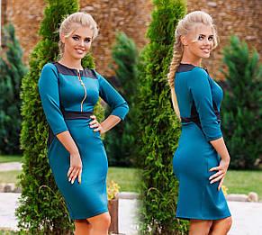 """Элегантное женское платье средней длины 790 """"Эластан Контраст Змейка"""", фото 2"""