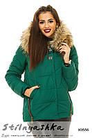 Зимняя куртка на холоффайбере зеленая