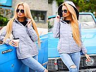 """Женская демисезонная куртка на силиконе 8084 """"Двухцвет Капюшон"""" в расцветках"""