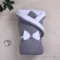 """Зимний вязанный конверт-одеяло """"Глория"""", серый"""