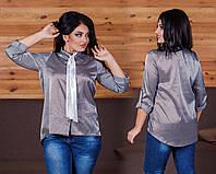 """Элегантная женская нарядная блузка в больших размерах 1085 """"Шёлк Полоска Галстук"""""""