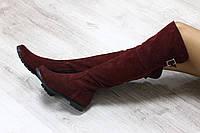 Зимние натуральные замшевые сапоги-ботфорты бордового цвета