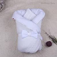 """Зимний вязанный конверт-одеяло """"Глория"""", белый"""