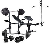 Скамья для жима с тягой и партой Cкотта Trex 1020 + Набор W-гриф+Штанга+Гантели 90 кг