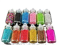 Бульонки для декора ногтей,  набор, 12 оттенков