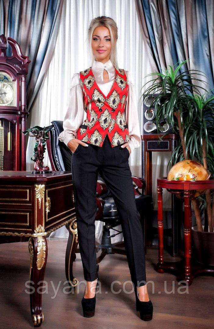 Женский классический костюм: жилет и брюки в расцветках. ПН-19-0817