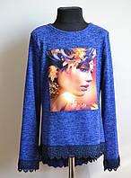Кофта для девочек с кружевом ангора синего цвета