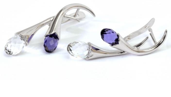 "Серьги ""Пломбир"" с кристаллами Swarovski, покрытые родием (e151f100)"