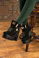 Женские ботинки Б-57 на каблуке из замши