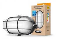 LED светильник (ЖКХ) овальный VIDEX 12W 5000K 220V черный (с решеткой)
