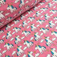 Фланель для пеленок с единорогами на розовом 160 см  №720