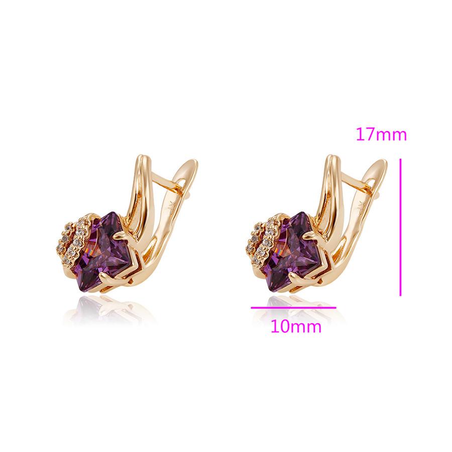 Серьги с фиолетовым цирконием, англ.замок, позолота