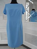 Платье голубое полуприлегающего силуэта большого размера