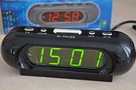 Настольные часы с будильником vst 716-4, светодиодная салатовая подсветка цифр, отсрочка сигнала, 220в, китай