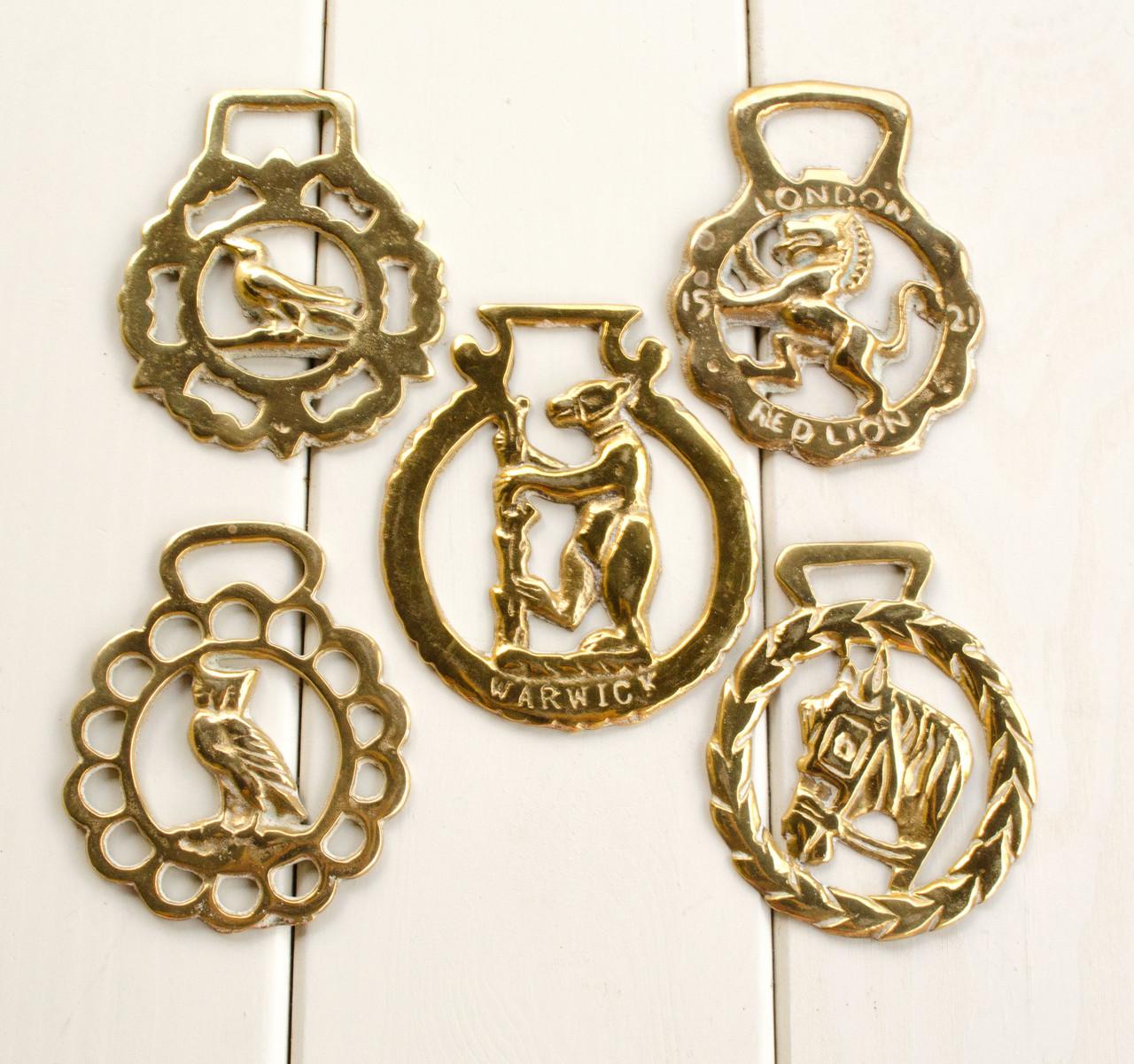 Латунные медальоны для конской сбруи, винтаж, латунь, Англия